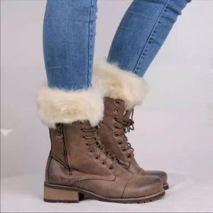 Beige Faux Fur Knitted Boot Cuffs Boot Socks